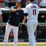 Cleveland Indians manager Terry Francona, left, congratulates Drew Stubbs after the Indians defeated the Toronto Blue Jays 4-2 in a baseball game, Thursday, July 11, 2013, in Cleveland. (AP  …
