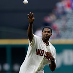 Cleveland Cavaliers' Tristen Thompson throws out the ceremonial pitch before the Cleveland Indians play the Kansas City Royals in a baseball game, Sunday, July 14, 2013, in Cleveland. (AP Ph …