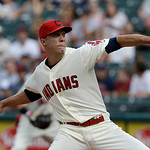 Cleveland Indians starting pitcher Ubaldo Jimenez delivers in the first inning of a baseball game against the Kansas City Royals, Sunday, July 14, 2013, in Cleveland. (AP Photo/Tony Dejak)