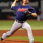 Cleveland Indians starting pitcher Josh Tomlin throws during the second inning of a baseball game against the Tampa Bay Rays on Tuesday, July 17, 2012, in St. Petersburg, Fla. (AP Photo/Mike …