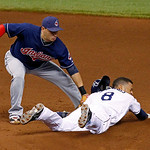 Tampa Bay Rays' Desmond Jennings, right, slides in safely with a steal of second base ahead of the tag by Cleveland Indians shortstop Asdrubal Cabrera during the sixth inning of a baseball g …