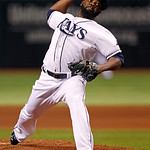 Tampa Bay Rays relief pitcher Fernando Rodney throws in the ninth inning of a baseball game against the Cleveland Indians on Tuesday, July 17, 2012, in St. Petersburg, Fla. The Rays won 4-2, …