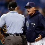 Tampa Bay Rays manager Joe Maddon, right, argues with home plate umpire Dan Iassogna after being ejected in the seventh inning during a baseball game against the Cleveland Indians, Wednesday …