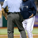 Tampa Bay Rays manager Joe Maddon, right, argues with home plate umpire Dan Iassogna after being ejected during the seventh inning of a baseball game against the Cleveland Indians, Wednesday …