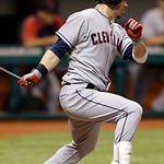 Cleveland Indians' Jason Kipnis lines a seventh-inning RBI single off Tampa Bay Rays relief pitcher Jake McGee during a baseball game, Wednesday, July 18, 2012, in St. Petersburg, Fla. India …