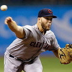 Cleveland Indians starting pitcher Justin Masterson delivers to the Tampa Bay Rays during the first inning of a baseball game, Wednesday, July 18, 2012, in St. Petersburg, Fla. (AP Photo/Chr …