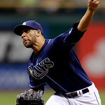 Tampa Bay Rays starting pitcher David Price delivers to the Cleveland Indians during the first inning of a baseball game, Thursday July 19, 2012, in St. Petersburg, Fla. The Rays defeated th &#8230;