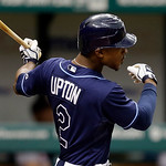 CORRECTS UPTON TO HITTING A THREE-RUN DOUBLE, NOT A THREE-RUN TRIPLE &#8211; Tampa Bay Rays&#039; B.J. Upton hits a three-run double off Cleveland Indians starting pitcher Ubaldo Jimenez during the six &#8230;