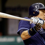 Tampa Bay Rays&#039; Hideki Matsui, of Japan, grounds to Cleveland Indians first baseman Carlos Santana during the sixth inning of a baseball game, Thursday July 19, 2012, in St. Petersburg, Fla. &#8230;