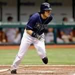 Tampa Bay Rays&#039; Hideki Matsui, of Japan, steps over his bat as he grounds to first base during the sixth inning of a baseball game against the Cleveland Indians, Thursday July 19, 2012, in S &#8230;