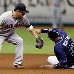Tampa Bay Rays&#039; Jose Molina slides into second with a stolen base ahead of the tag by Cleveland Indians second baseman Jason Kipnis during the second inning of a baseball game Thursday July  &#8230;