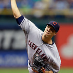 Cleveland Indians starting pitcher Ubaldo Jimenez delivers to the Tampa Bay Rays during the first inning of a baseball game, Thursday July 19, 2012, in St. Petersburg, Fla. (AP Photo/Chris O &#8230;