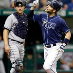 Tampa Bay Rays&#039; Luke Scott, right, reacts in front of Cleveland Indians catcher Lou Marson after hitting a third-inning home run off Indians pitcher Ubaldo Jimenez during a baseball game, Th &#8230;