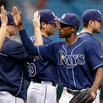 Tampa Bay Rays&#039; B.J. Upton, second from right, high-fives teammates after the Rays defeated the Cleveland Indians 6-0 in a baseball game Thursday July 19, 2012, in St. Petersburg, Fla. Upton &#8230;