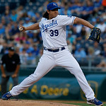 Kansas City Royals starting pitcher Luis Mendoza (39) delivers to an Cleveland Indians batter during the first inning of a baseball game at Kauffman Stadium in Kansas City, Mo., Tuesday, Jul …