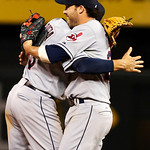 Cleveland Indians second baseman Jason Kipnis, right, celebrates with teammate Asdrubal Cabrera, left, following a baseball game against the Kansas City Royals at Kauffman Stadium in Kansas  …