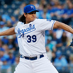 Kansas City Royals starting pitcher Luis Mendoza delivers to an Cleveland Indians batter during the first inning of a baseball game at Kauffman Stadium in Kansas City, Mo., Tuesday, July 2, …