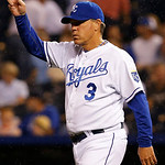 Kansas City Royals manager Ned Yost  calls for a new pitcher during the seventh inning of a baseball game against the Cleveland Indians at Kauffman Stadium in Kansas City, Mo., Tuesday, July …