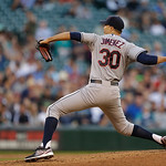 Cleveland Indians starting pitcher Ubaldo Jimenez throws during a baseball game against the Seattle Mariners, Monday, July 22, 2013, in Seattle. (AP Photo/Ted S. Warren)