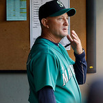 Seattle Mariners bench coach Robby Thompson stands in the during during the third inning of a baseball game against the Cleveland Indians, Monday, July 22, 2013, in Seattle. Thompson managed …