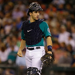 Seattle Mariners catcher Mike Zunino is shown during a baseball game against the Cleveland Indians, Monday, July 22, 2013, in Seattle. (AP Photo/Ted S. Warren)
