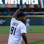 Seattle Seahawks NFL football player Golden Tate waves at fans before throwing out the first pitch of a baseball game between the Cleveland Indians and the Seattle Mariners, Monday, July 22, …