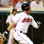 Cleveland Indians&#039; Michael Brantley watches his ball after hitting an RBI-single off Baltimore Orioles relief pitcher Troy Patton in the eighth inning in a baseball game, Monday, July 23, 20 &#8230;