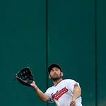 Cleveland Indians&#039; Johnny Damon keeps his eyes on the ball before catching a fly ball hit by Baltimore Orioles&#039; Wilson Betemit in the fifth inning in a baseball game, Monday, July 23, 2012,  &#8230;