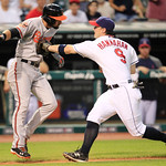 Cleveland Indians&#039; Jack Hannahan tags out Baltimore Orioles&#039; Nick Markakis between third base and home plate in the eighth inning in a baseball game, Monday, July 23, 2012, in Cleveland. (AP &#8230;
