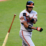 Baltimore Orioles&#039; Endy Chavez throws his bat after lining out to first base in the fifth inning of a baseball game against the Cleveland Indians, Monday, July 23, 2012, in Cleveland. (AP Ph &#8230;