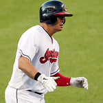 Cleveland Indians&#039; Shin-Soo Choo runs the bases after a two-run home run off Baltimore Orioles starting pitcher Tommy Hunter in the third inning of a baseball game, Monday, July 23, 2012, in &#8230;