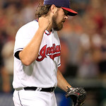 Cleveland Indians relief pitcher Chris Perez pumps his fist after the Indians defeated the Baltimore Orioles 3-1 in a baseball game, Monday, July 23, 2012, in Cleveland. (AP Photo/Tony Dejak &#8230;
