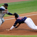 Detroit Tigers&#039; Prince Fielder, left, tags out Cleveland Indians&#039; Michael Brantley in the fourth inning of a baseball game, Tuesday, July 24, 2012, in Cleveland. Brantley tried to advance to &#8230;