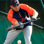 Detroit Tigers&#039; Omar Infante bunts during batting practice before a baseball game against the Cleveland Indians, Tuesday, July 24, 2012, in Cleveland. Infante and right-hander Anibal Sanchez &#8230;