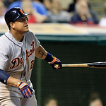 Detroit Tigers&#039; Miguel Cabrera watches his ball after hitting a two-run home run off Cleveland Indians&#039; Joe Smith in the seventh inning of a baseball game, Tuesday, July 24, 2012, in Clevela &#8230;