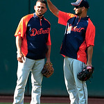 Detroit Tigers&#039; Anibal Sanchez, right, lifts the cap off Omar Infante during batting practice before a baseball game against the Cleveland Indians, Tuesday, July 24, 2012, in Cleveland. Sanc &#8230;
