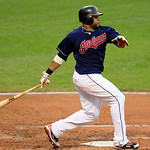 Cleveland Indians&#039; Carlos Santana hits an RBI-single off Detroit Tigers&#039; Doug Fister in the fourth inning of a baseball game, Tuesday, July 24, 2012, in Cleveland. Jason Kipnis scored. (AP P &#8230;