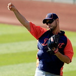 Detroit Tigers&#039; Anibal Sanchez throws during batting practice to warm up before a baseball game against the Cleveland Indians, Tuesday, July 24, 2012, in Cleveland. Sanchez was acquired from &#8230;