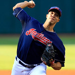 Cleveland Indians&#039; Ubaldo Jimenez pitches in the first inning of a baseball game against the Detroit Tigers, Tuesday, July 24, 2012, in Cleveland. (AP Photo/Tony Dejak)