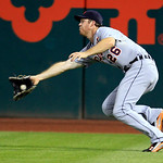 Detroit Tigers&#039; Brennan Boesch catches a fly ball hit by Cleveland Indians&#039; Shin-Soo Choo in the eighth inning of a baseball game, Tuesday, July 24, 2012, in Cleveland. The Indians won 3-2.  &#8230;