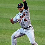 Detroit Tigers&#039; Omar Infante catches a ball hit by Cleveland Indians&#039; Jack Hanahan in the third inning of a baseball game, Tuesday, July 24, 2012, in Cleveland. Hanahan was out. (AP Photo/To &#8230;