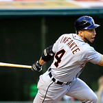 Detroit Tigers&#039; Omar Infante singles off Cleveland Indians starting pitcher Ubaldo Jimenez in the fifth inning pf a baseball game, Tuesday, July 24, 2012, in Cleveland. (AP Photo/Tony Dejak)