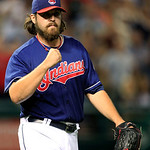 Cleveland Indians&#039; Chris Perez pumps his fist after the Indians defeated the Detroit Tigers 3-2 in a baseball game, Tuesday, July 24, 2012, in Cleveland. (AP Photo/Tony Dejak)