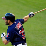 Cleveland Indians&#039; Johnny Damon hits an RBI-single off Detroit Tigers starting pitcher Doug Fister in the second inning of a baseball game, Tuesday, July 24, 2012, in Cleveland. Carlos Santa &#8230;