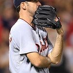 Detroit Tigers' Justin Verlander watches the ball after a solo home run by Cleveland Indians' Travis Hafner in the seventh inning of a baseball game, Thursday, July 26, 2012, in Cleveland. ( …