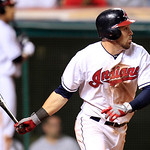 Cleveland Indians' Jason Kipnis watches his RBI single off Detroit Tigers' Justin Verlander in the seventh inning of a baseball game, Thursday, July 26, 2012, in Cleveland. The Indians won 5 …