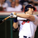 Cleveland Indians' Travis Hafner hits a solo home run off Detroit Tigers starting pitcher Justin Verlander in the seventh inning of a baseball game, Thursday, July 26, 2012, in Cleveland. (A …