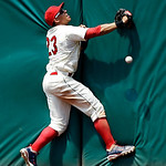 Cleveland Indians center fielder Michael Brantley (23) fails to catch a two-run double by Tampa Bay Rays' Luke Scott in the sixth inning of a baseball game on Sunday, July 8, 2012, in Clevel …