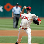 Cleveland Indians' Zach McAllister pitches against the Tampa Bay Rays in a baseball game Sunday, July 8, 2012, in Cleveland. (AP Photo/Mark Duncan)