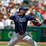 Tampa Bay Rays' James Shields pitches against the Cleveland Indians in a baseball game Sunday, July 8, 2012, in Cleveland. (AP Photo/Mark Duncan)
